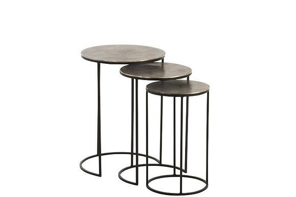 Set di 3 tavolini rotondi in alluminio nero / grigio (86242)