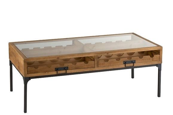 Tavolino per bottiglie di vino in legno naturale (1129)