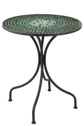 Tavolo rotondo quadrato in vetro mosaico / metallo verde