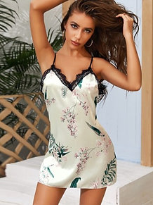 Floral & Plants Lace Night Dress