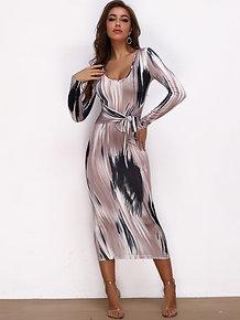 Print Tie Bodycon Dress