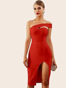 One Shoulder Split Thigh Pencil Dress