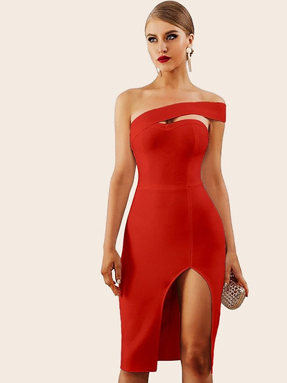 One Shoulder Split Thigh Pencil Dress