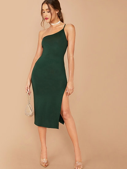One Shoulder Split Thigh Dress