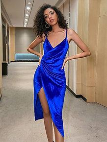 Double Wrap Velvet Dress