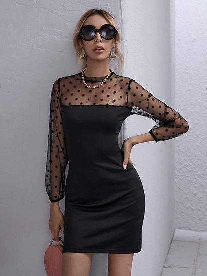Keyhole Polka Dot Dress