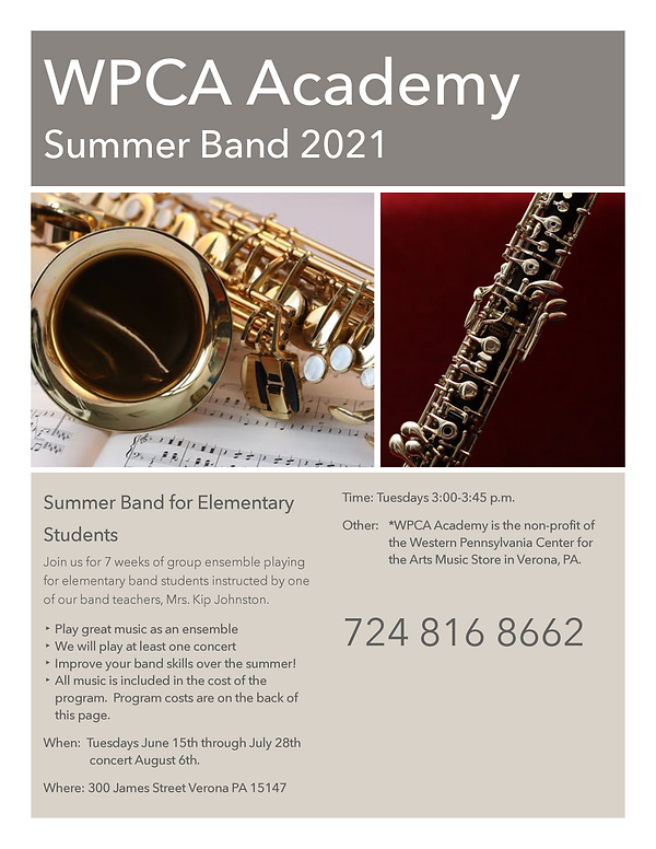Summer Elementary Band Poster for Kip Pa