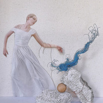 mixed media art: paper, stuff from the ocean
