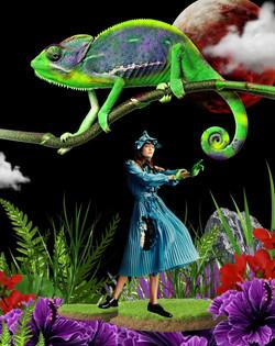 Gigi Hadid playing with Chameleon