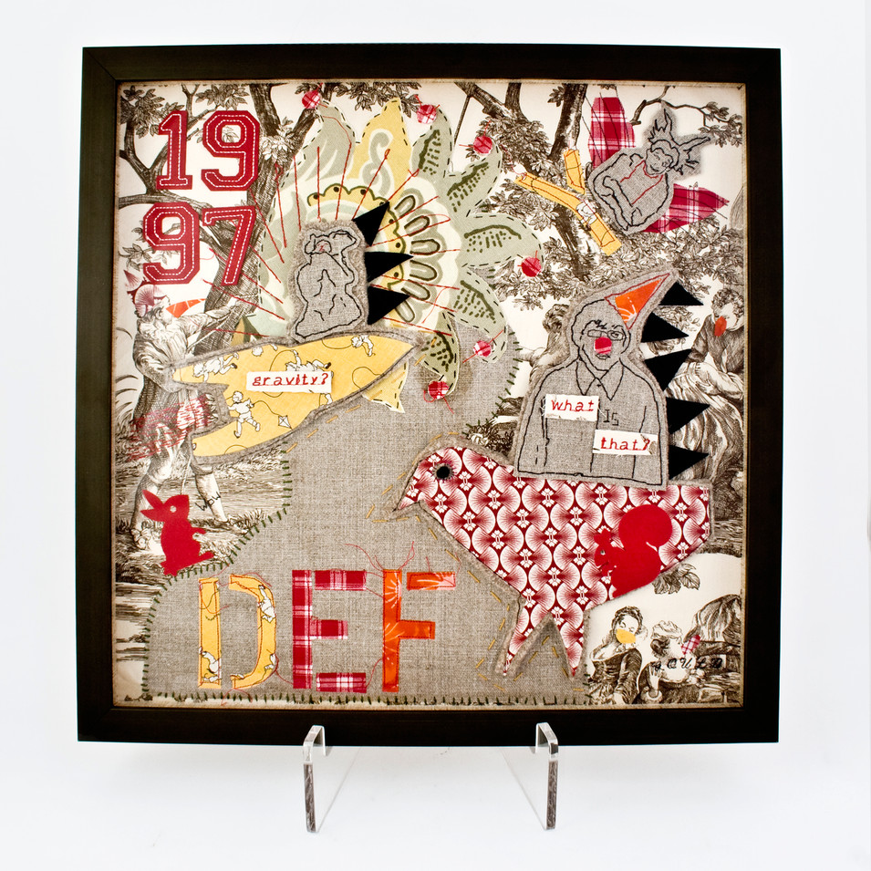 defying gravity - 2013 (linen, felted wool, commercial stickers and numbers, assorted cotton fabrics)