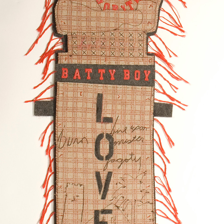 coach's favorite - 2010 (industrial wool felt, printed linen, commercial stick-on letters)
