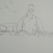 a man outstanding in his field - c1978 (pencil on paper)
