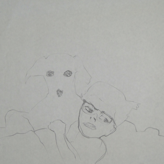 me and my dog - c1978 (pencil on paper)