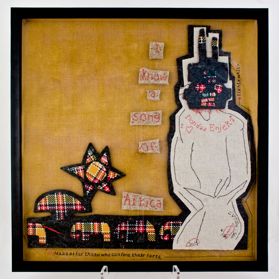 i know a song of africa - 2013 (industrial wool felt, vintage cloth, dyed linen, embroidery floss)
