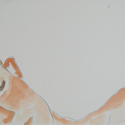 reclining figure - c1979 (pencil and watercolour on paper)