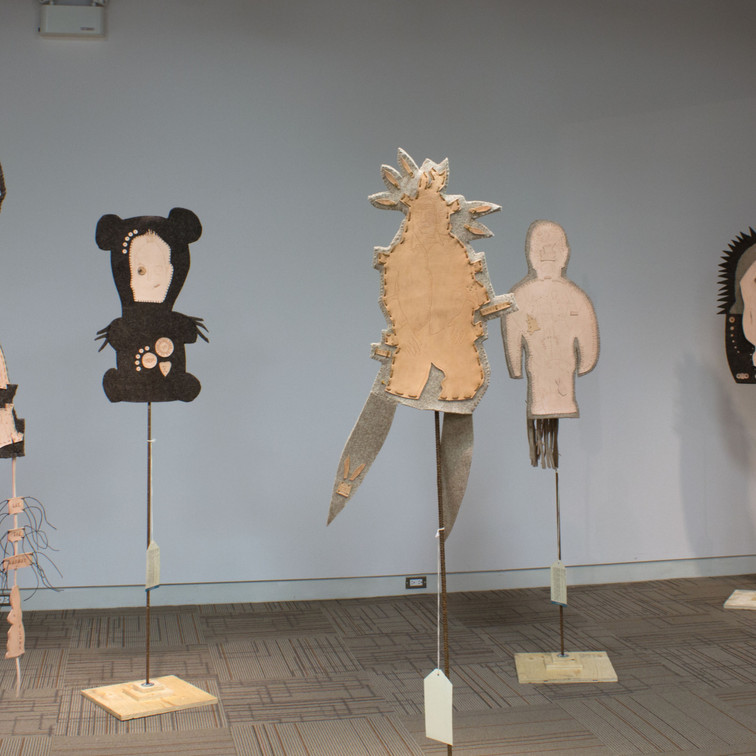 totems of the masculine - 2014 (industrial wool felt, vegetable-tanned leather, re-bar and plywood)