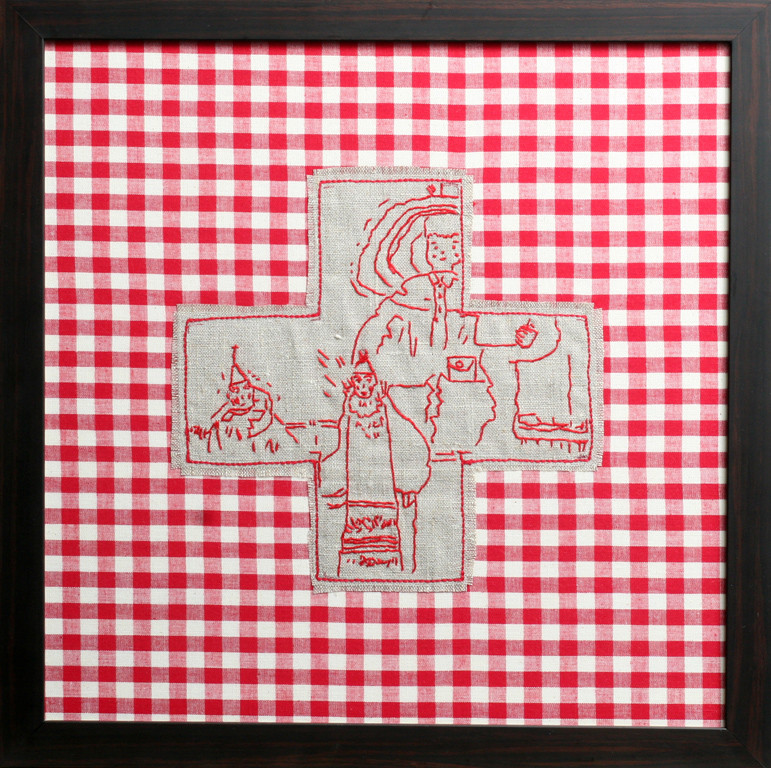 two guys and a doll - 2004 (linen on cotton)