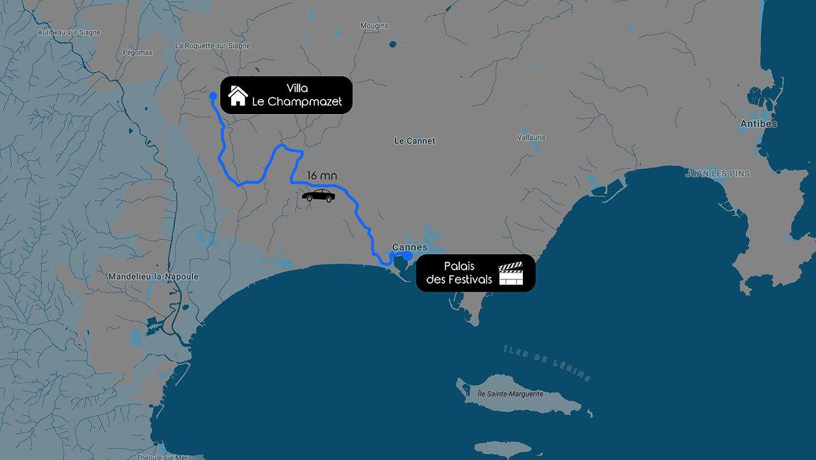 Distance entre Cannes et la Villa