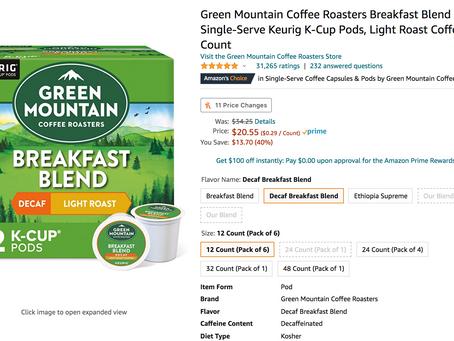 72 Count For $20.55 Green Mountain Coffee Roasters Breakfast Blend Decaf, Single-Serve Keurig K-Cup