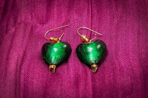 Green Murano glass hearts earrings