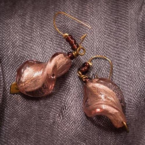 Pale pink Murano glass twists earrings