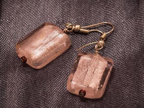 Pale pink Murano glass beads earrings