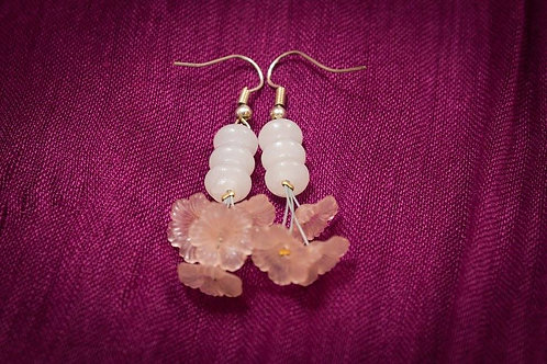 White stone beads with lucite flower clusters earrings
