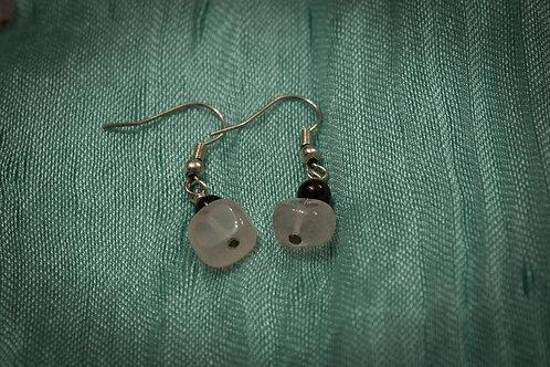Garnet and rose quartz earrings