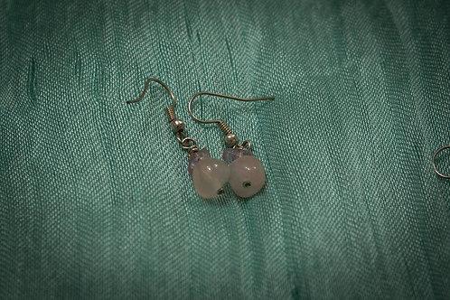 Amethyst and rose quartz earrings
