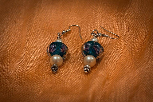 Murano glass doughnut beads with roses & cream pearls earrings
