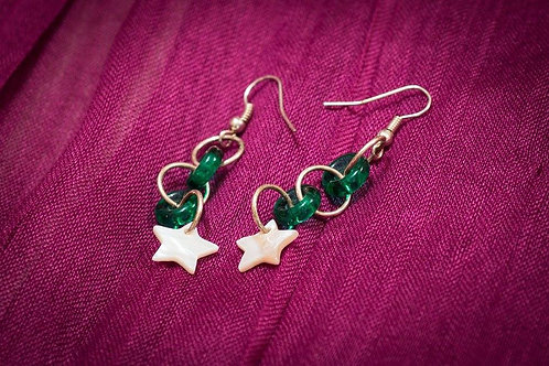Teal glass rings with white shell stars earrings