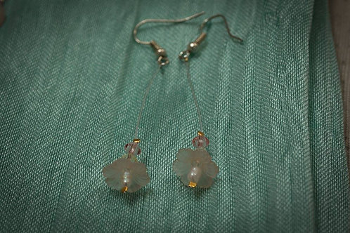 Lucite flowers with freshwater seed pearls earrings