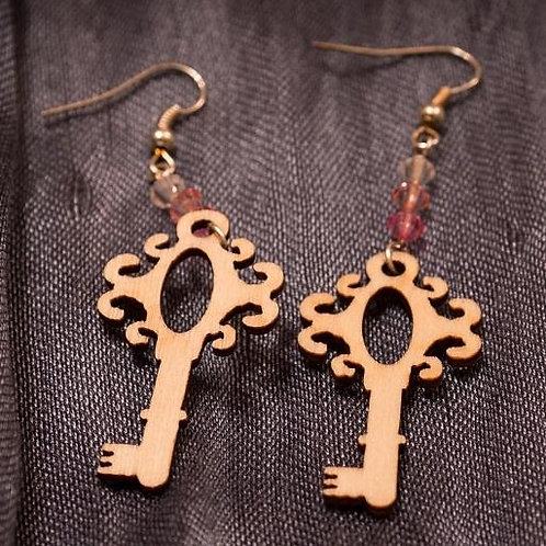 Laser cut wooden keys with pink to champagne ombre beads earrings
