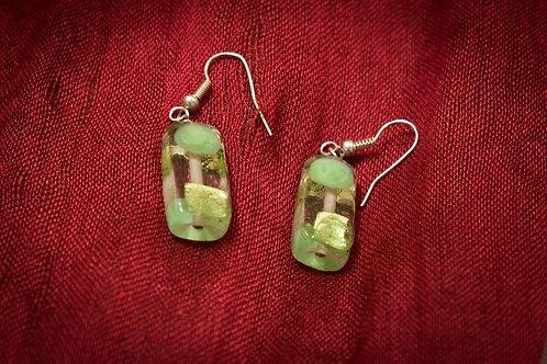 Light green glass oblongs earrings