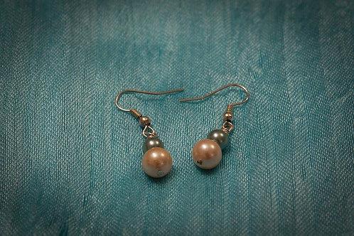 Green and cream pearl earrings