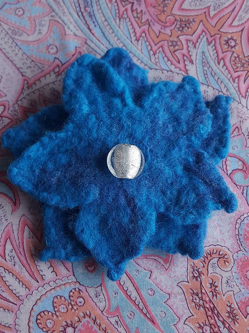Blue felted flower with Murano glass bead pin