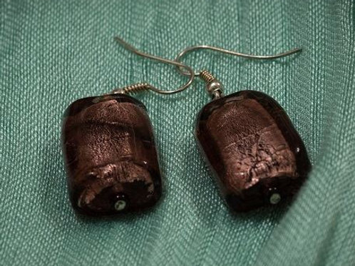 Dark purple Murano glass oblongs earrings