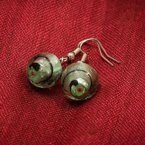 Green Murano spiral glass spheres earrings