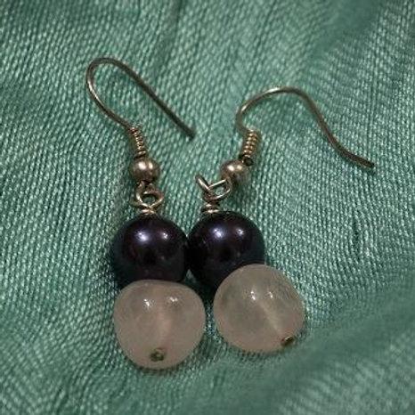 Dark purple pearl and rose quartz earrings