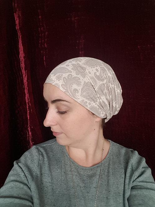 Taupe and cream paisley headband