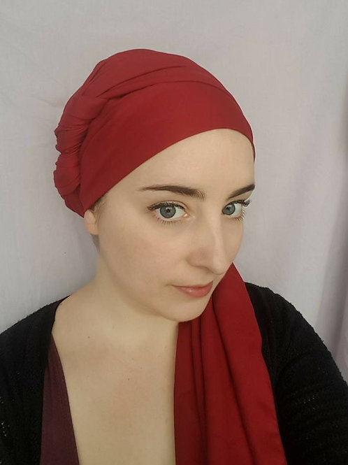 Extra long red polycotton scarf