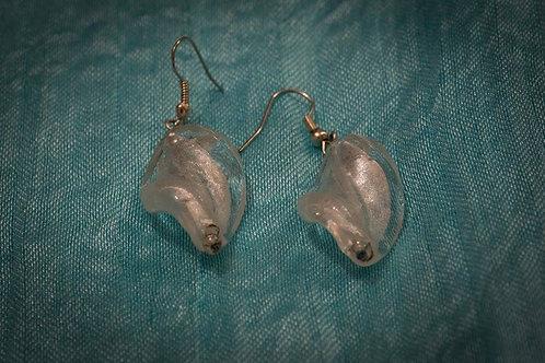 White Murano glass twists earrings