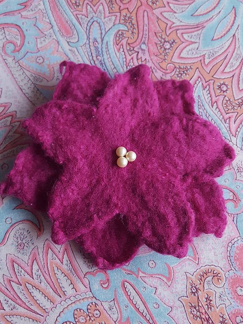 Purple felted flower with pearls pin