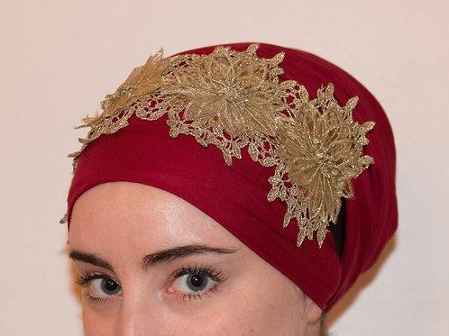 Gold fancy flowers headband