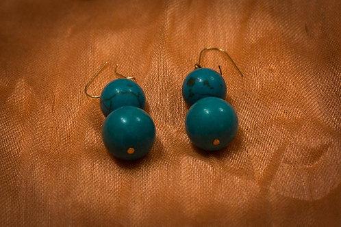 Turquoise spheres earrings