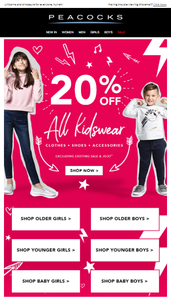 Peacocks - 20% off Kids