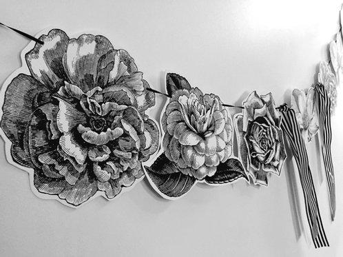 Black & White Flowers Garland