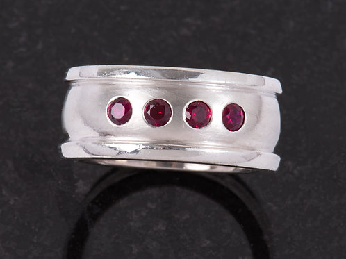 Silver and Red Garnet Ring