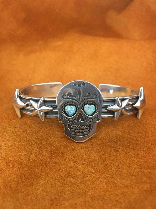 """Rockstar Muerto"" Skull and Stars Bracelet"