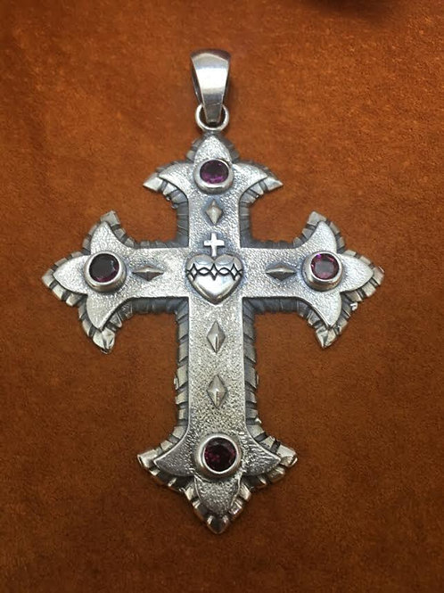 Sterling Silver Sacred Heart Cross (Large)